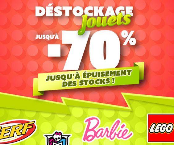 Bon plan déstockage sur une sélection de jouets de marque proposés en exclu Web avec des réductions jusqu'à -70%.