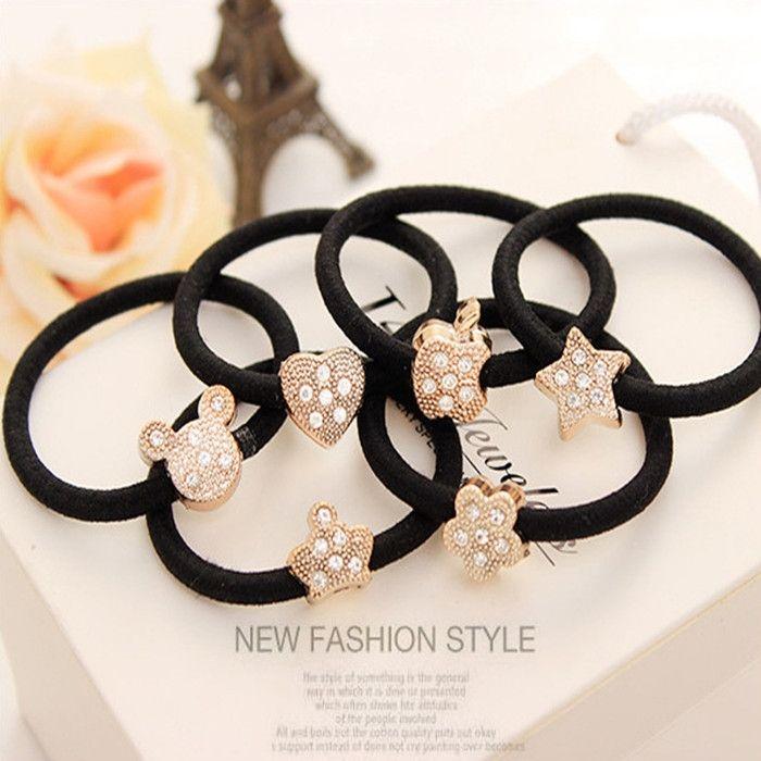 6 pcs fashion mickey elastic hair rubber bands ties for women girls children scrunchy headdress hair accessories holder headwear