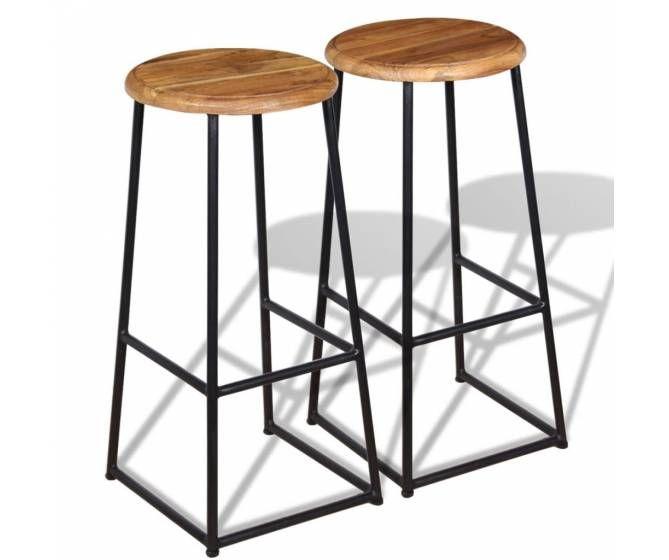 Lot De 2 Tabourets De Bar Industriels Teck Massif Tabouret De Bar Design Chaise Haute Bois Et Tabouret De Bar Industriel
