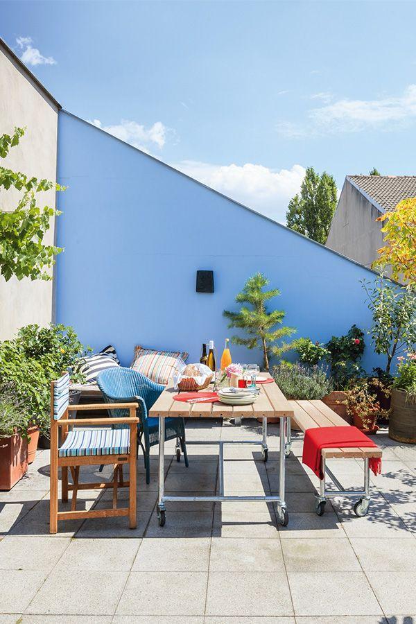 Tisch Jütland, rollbar in 2020 | Terassenideen, Außenmöbel