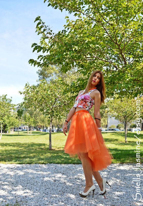 Orange Tulle Skirt Woman Tulle Skirt Adult Tutu by SmellsJasmine