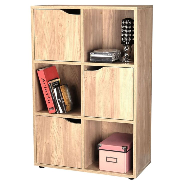 Oak Finish 6 Cube 3 Door Shelf Books CDs U0026 DVDs Wooden Storage Display Unit: