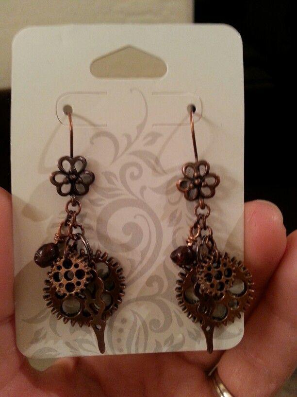 Gear & Flower Earrings