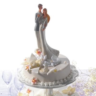 #2547 Large polyresine wedding couple with flower decoration, silver