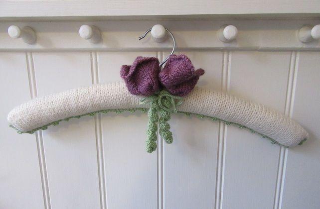 Hand knitted 'Queen of the Night Tulip' coat hanger £14.00