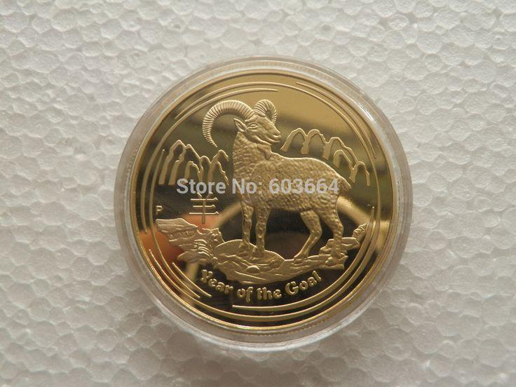 2015 Anno della Capra 1 oz placcato Oro zodiaco Cinese moneta commemorativa 1 pz/lotto