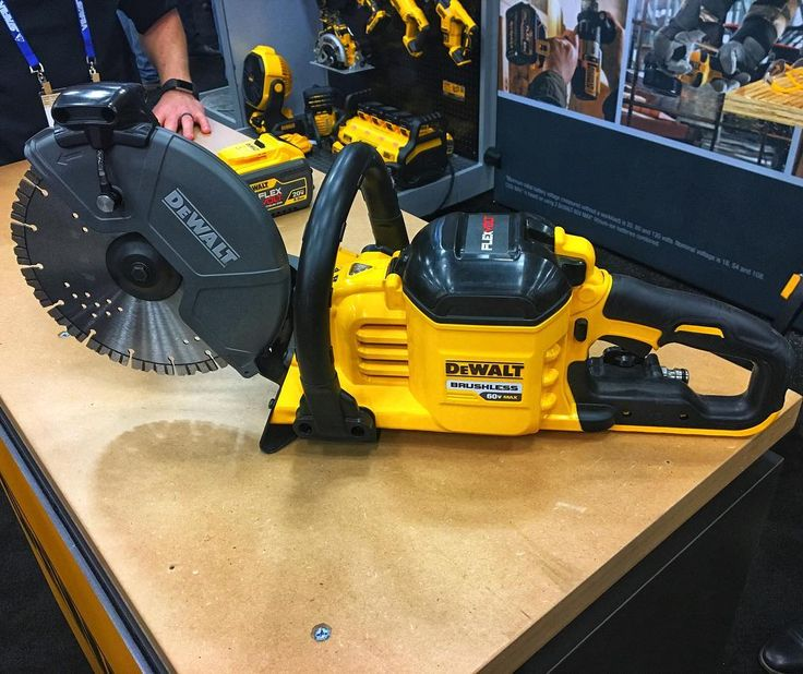 "toolboxbuzzDVS690 Dewalt 9"" Cutoff Saw prototype. FlexVolt Lineup. 3-1/4 depth of cut. Dual feed water system. All metal drive train. No Belts! Will be available in March with diamond and abrasive wheels. #flexvolt #NoGasKicksAss #tbbcrew"