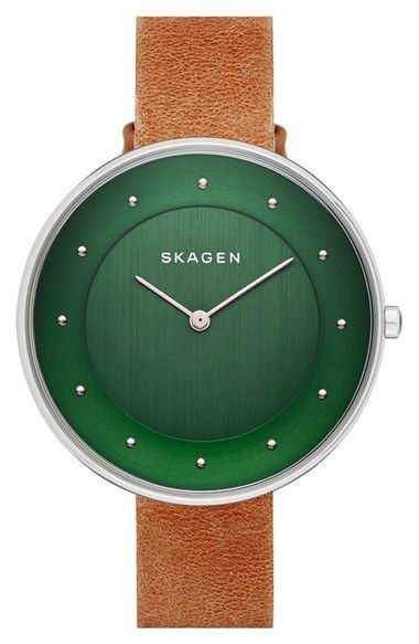 Free shipping and returns on Skagen 'Gitte' Round Slim Leather Strap Watch, 38mm at Nordstrom.com. A large, clean face pairs with a slender leather strap to refresh this classic round watch with a modern aesthetic and proportions.