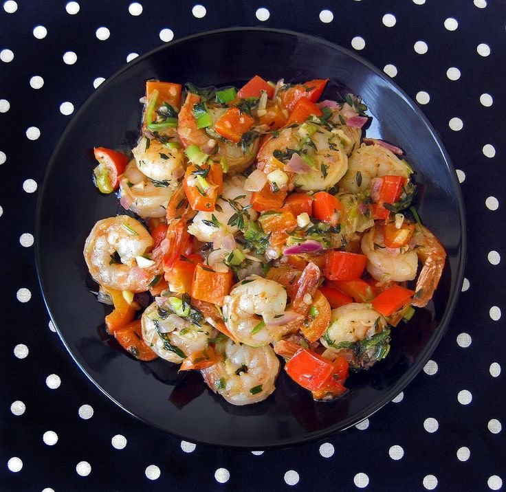 """Festive, Italian-Style Sautéed Shrimp & Red Bell Peppers in Lemon-Garlic Sauce 