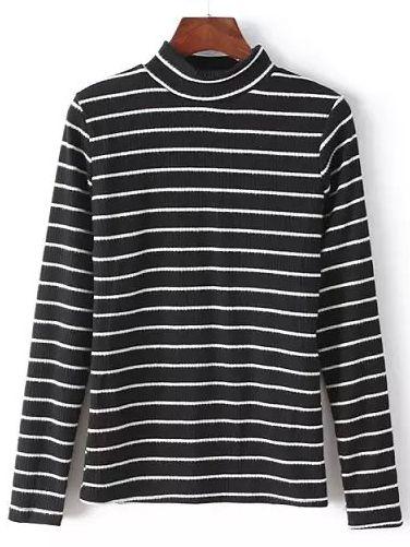 Suéter cuello alto rayas-(Sheinside)