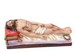 Gesù Morto cm. 27  lunghezza cm. 27 in gesso disponibile anche in resina dipinto con colori acrilici  http://www.ovunqueproteggimi.com/collezione-statue/ges%C3%B9/morto/