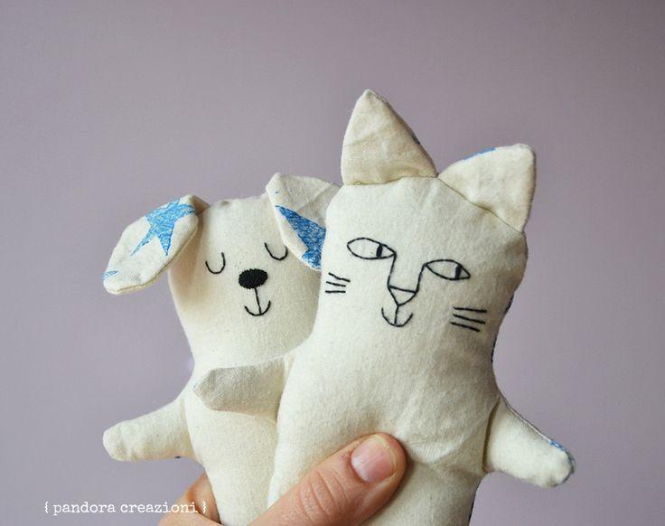 cat & dog, stuffed toys by pandora creazioni