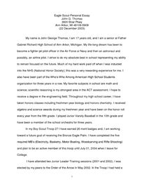 Example Eagle Scout Personal Essay   Troop 27   Ann Arbor