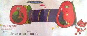 230.000 Tenda dengan uk 270x75x98 cm.Tebagi menjadi 3 bagian,bentuk segitiga,kotak dan terowongan.Full colour. Bisa dimainkan 2-3 anak dengan usia 1-4 thn. Volume 2kg.