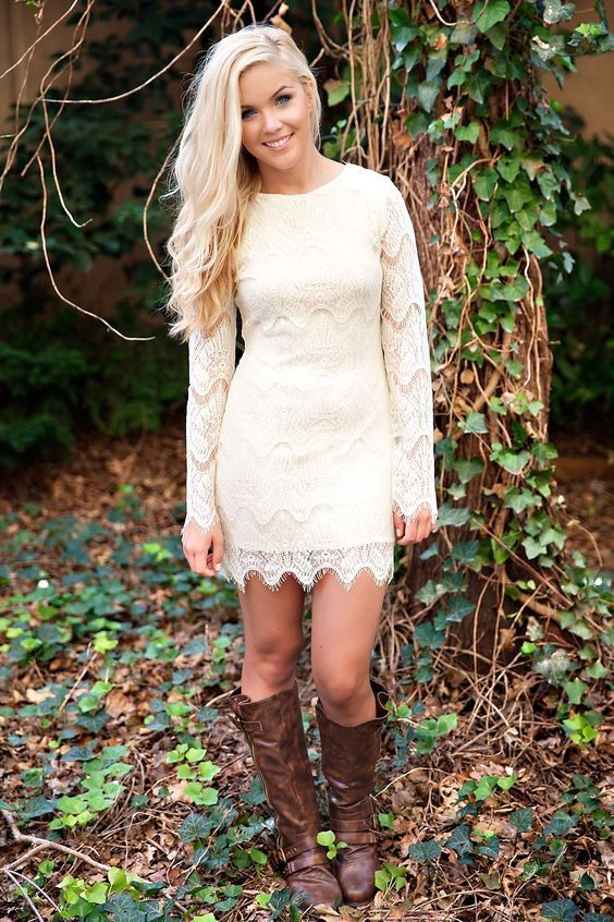 Champagne Lace Dress and Boots – fashion dresses