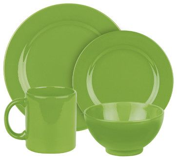 Fun Factory II Place Setting, Green Apple, 4 Piece traditional dinnerware sets