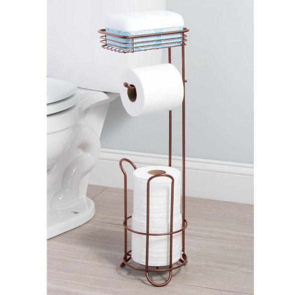 Mdesign Standing Toilet Paper Dispenser Holder With Shelf Venetian Bronze In 2020 Toilet Paper Dispenser Free Standing Toilet Paper Holder Toilet Paper