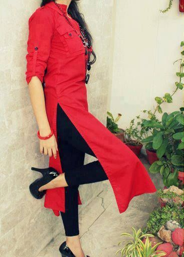 Designer Red color Long #kurti