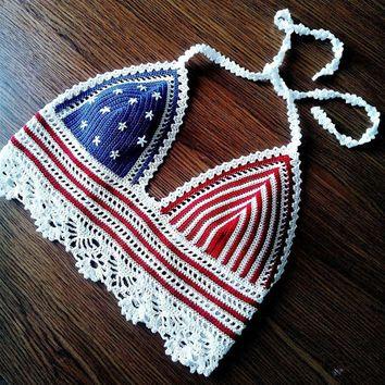 Crochet top, American Flag top, USA flag, Crochet crop top, Festival, Handmade, Hippie, Coachella, Gypsy style, Boho, Bohemian, Top Bra