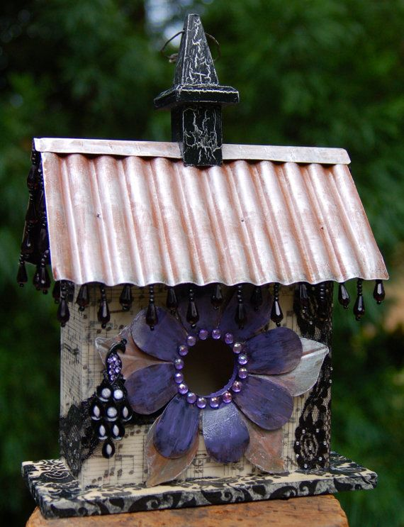 SOLD - Black and Cream Music Birdhouse with Copper Roof and Purple Flower