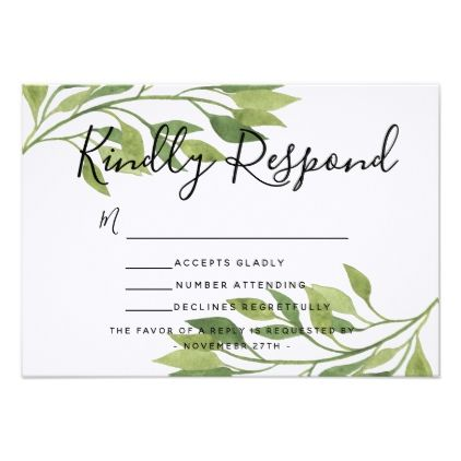 Spring wedding foliage invite RSVP reply card - spring wedding diy marriage customize personalize couple idea individuel