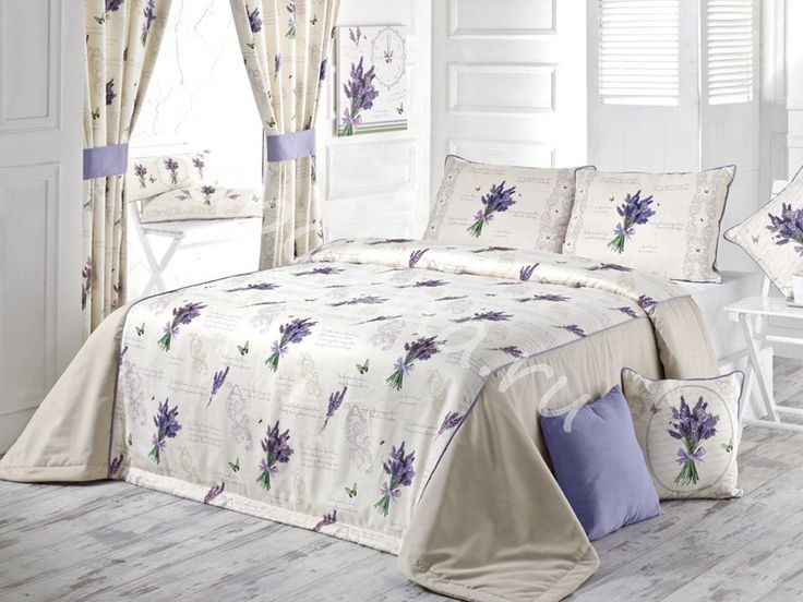 Комплект домашнего текстиля: покрывало и две наволочки Букет Лаванды украсит Вашу спальню и внесет в нее свежесть  летнего вечера, сделает комнату более уютной и красивой.