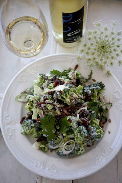 Broccoli salad with bacon, sunflower, seeds and raisins