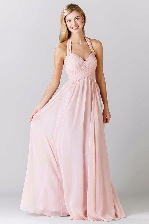 Magnifique robe rose pâle longue col halter