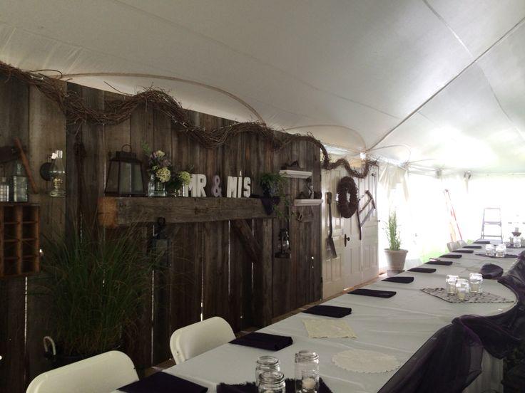 Rustic wedding backdrop, barn board, head table