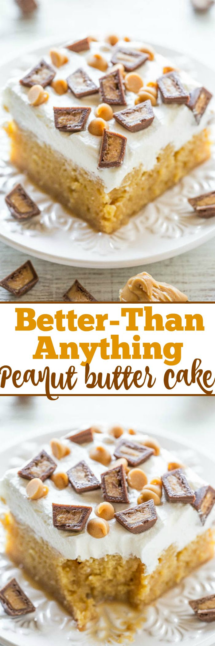 Better-Than-Anything Peanut Butter Cake - A peanut butter lovers dream: PB, PB chips, and PB cups!! An easy, no-mixer poke cake that's drenched with caramel to keep it super moist! Lives up to it's name and tastes AMAZING!! Great for parties!