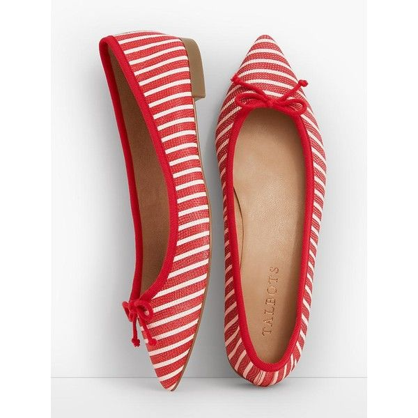 Talbots Women's Mira Ballet Flats Stripe Textured Leather ($90) ❤ liked on Polyvore featuring shoes, flats, breathable ballet flats, ballet flats, flat shoes, ballerina flat shoes and slip-on shoes