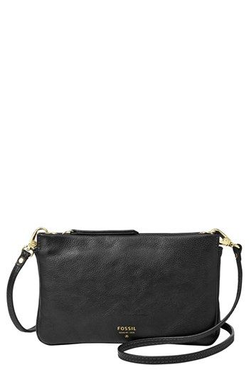 $88, Black Leather Crossbody Bag: Fossil Mini Crossbody Bag Black. Sold by Nordstrom. Click for more info: https://lookastic.com/women/shop_items/72578/redirect