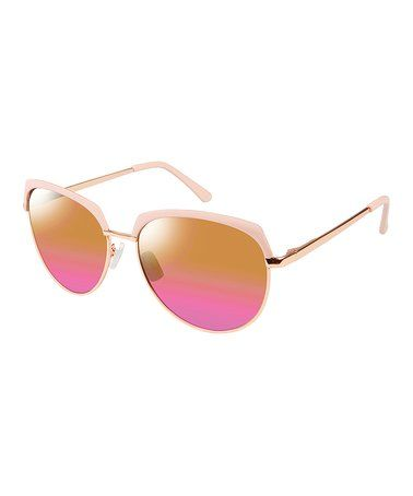 Rose Gold & Rose Browline Sunglasses #zulily #zulilyfinds