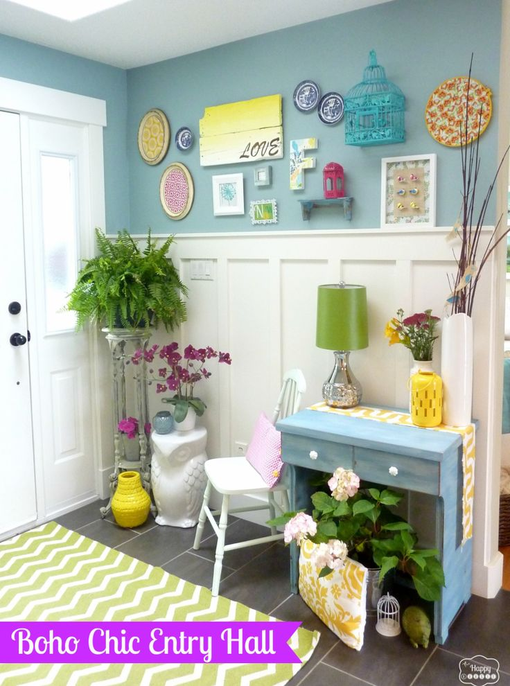 Boho Chic inspired Entry Hall Foyer part of one room three ways at thehappyhousie
