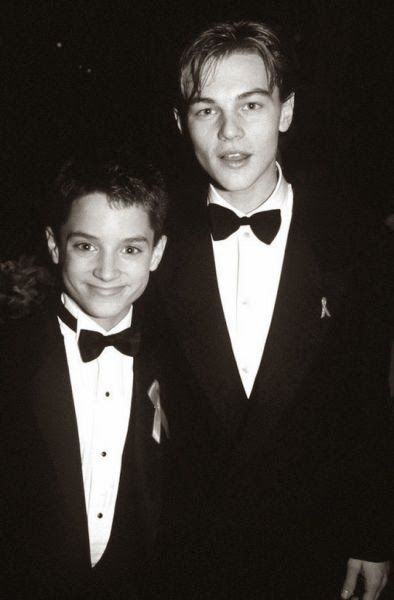 A picture of young stars: Elijah Woods and Leonardo DiCaprio! ♥ Like my pins? Pls share and visit my celebrity site at www.celebritysize... ♥ #celebritysizes