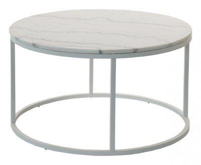 Runt+vitt+soffbord+i+marmor