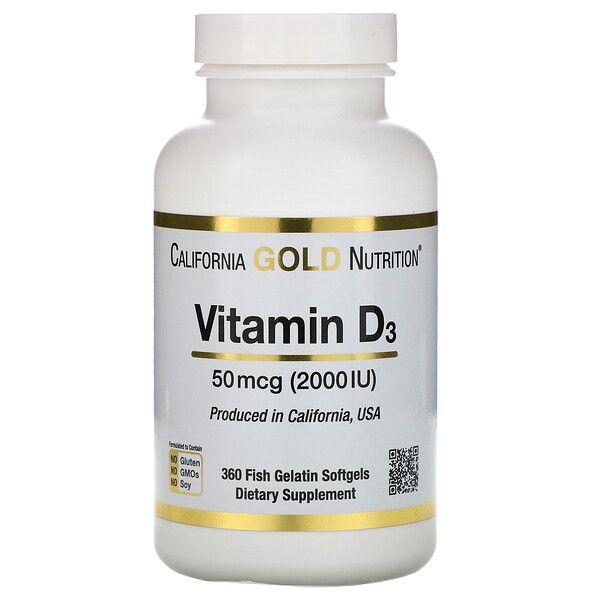 California Gold Nutrition Vitamin D3 50 Mcg 2 000 Iu 360 Fish Gelatin Softgels Vitamin D3 Vitamins Nutrition