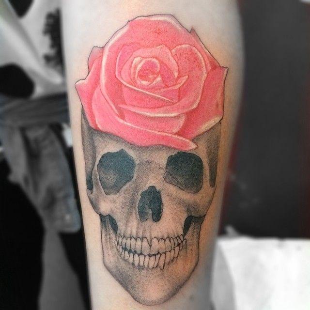Skull Tattoo by Gus Honey at LDF Tattoo Newtown, Sydney, NSW. #tattoo #sydneytattoo #skulltattoo #ldftattoo #rosetattoo