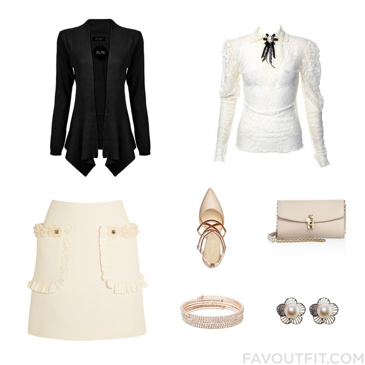 Wardrobe Idea Featuring Cardigan Cream Blouse Fendi Mini Skirt And Caged Shoes From December 2016 #outfit #look