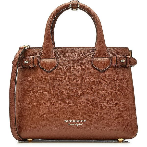 Burberry Small Banner Leather Tote ($1,200) ❤ liked on Polyvore featuring bags, handbags, tote bags, brown, brown leather purse, brown tote, leather purses, leather tote bags and leather tote