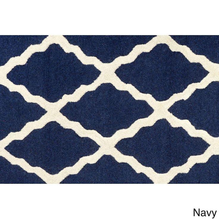 nuLOOM Hand-hooked Alexa Moroccan Trellis Wool Door Mat Rug (2' x 3') (Navy (Blue)) (Oriental)