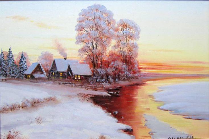 Картины (живопись) : Зимний закат. Автор Владислав Лебедько