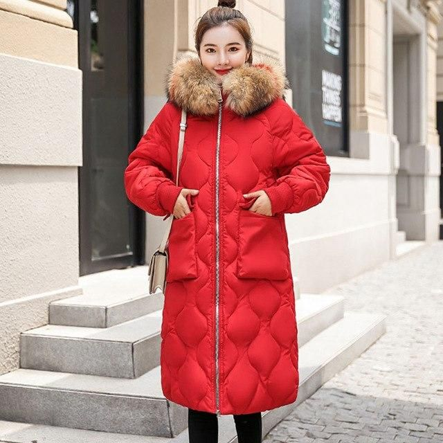 Plus Size 2018 Winter Jacket Women Colorful Big Fur Hooded Thick Down Parkas Long Female Jacket Coat Slim Warm Winter Outwear Re 1