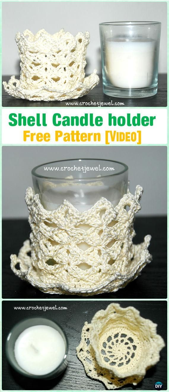 Crochet Shell Candle Holder Free Pattern [Video] by Amy Lehman