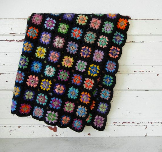 Granny Square Crocheted Afghan Quilt With Black Border