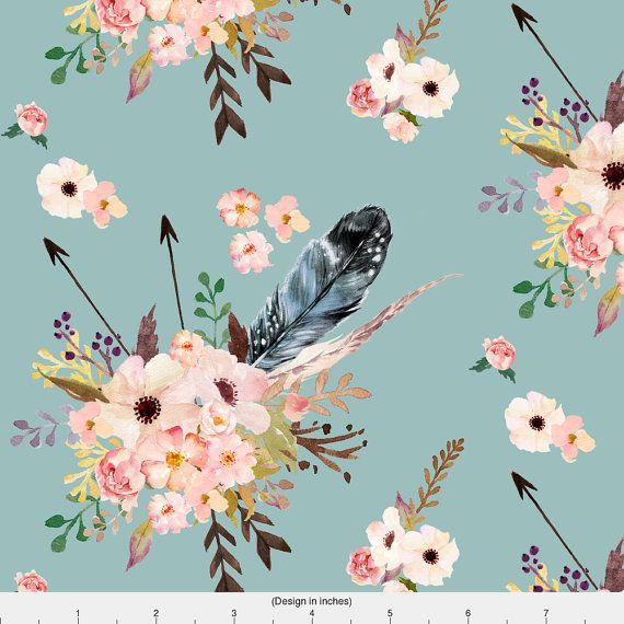 Bohemian Floral Fabric  Boho Pink In Blue By by Spoonflower