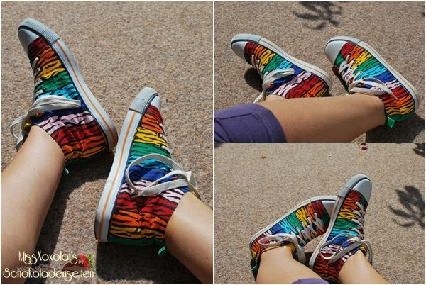 Regenbogen Schuhe Tigerstreifen Textilfarbe Rainbow Canvas Tigersripes Shoes DIY dye