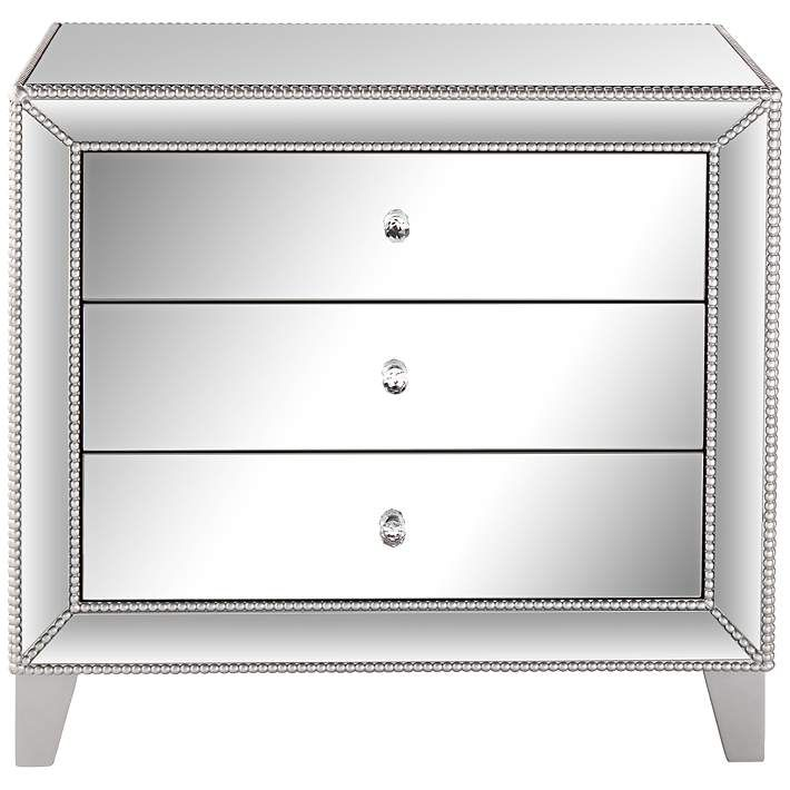 """Liza 3-Drawer 30"""" Wide Mirrored Accent Table - #6V395 