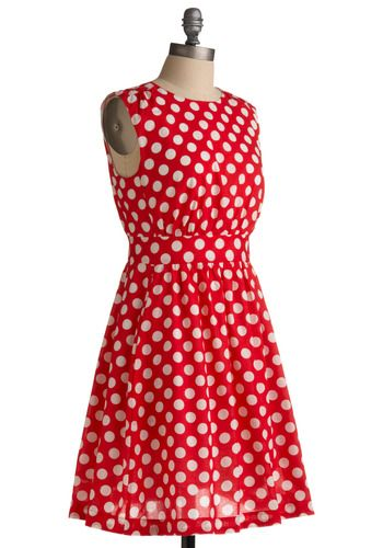 Too Much Fun Dress in Cherry, #ModCloth - red and white polka-dot dress with pockets and keyhole detail on back. retro office chic!