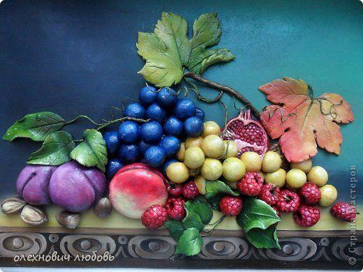 Картина панно рисунок Праздник осени Лепка Фруктовый натюрморт Тесто соленое фото 1